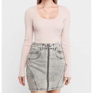 Express High Waist Acid Wash Front Zip Denim Skirt